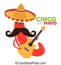 Cinco de mayo - Isolated pepper with a traditional hat and a...