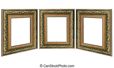 Three old antique gold picture frame with a decorative pattern isolated over white background