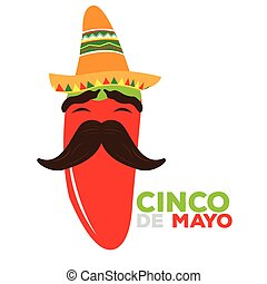 Cinco de mayo - Isolated happy pepper with a traditional...