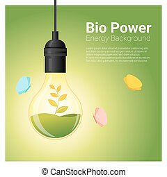 Energy concept background with bio energy in light bulb 1 -...
