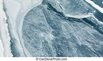 Aerial survey of the river - Aerial survey of the frozen...