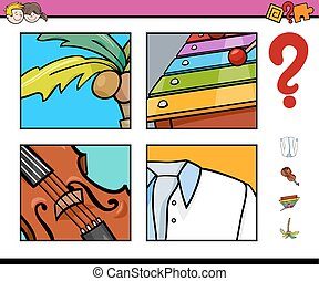 guess object activity game - Cartoon Illustration of...