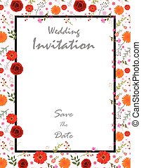 Beautiful Wedding Invitation card with flowers - vector...