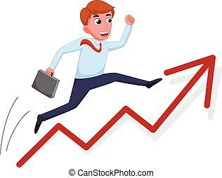Businessman cartoon jump over growing chart - vector...