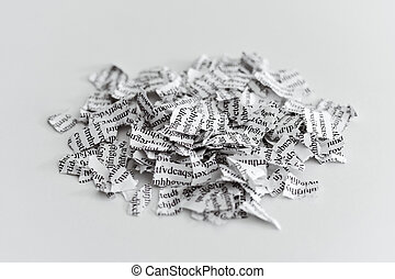 document broken into a thousand pieces - a printed letter or...