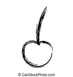 blurred sketch contour cherry fruit icon