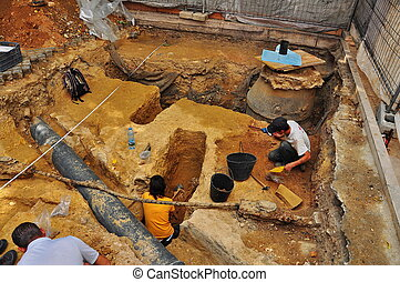 Portugal excavations, the skeleton - Portugal, excavations,...