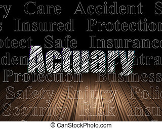 Insurance concept: Actuary in grunge dark room - Insurance...