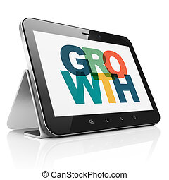 Business concept: Tablet Computer with Growth on  display
