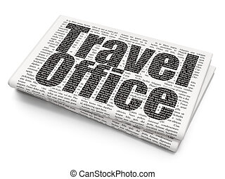 Travel concept: Travel Office on Newspaper background -...