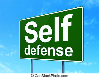 Safety concept: Self Defense on road sign background -...