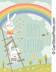 Funny easter bunnies with rainbow. Vector Easter card