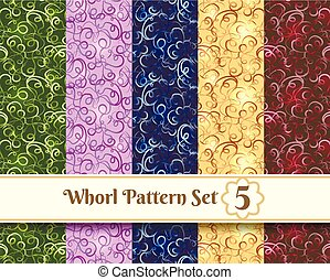Whorl Pattern set - Colorful whorl floral seamless patterns....