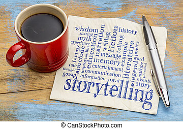 storytelling word cloud on napkin - storytelling word cloud...