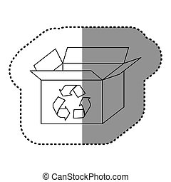 sticker silhouette carton box with recycling symbol
