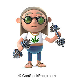 3d Funny cartoon hippy stoner character working out with gym...