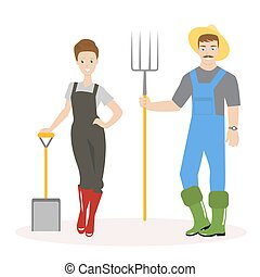 Family of farmers. Man in green rubber boots, a straw hat and with pitchforks in his hands. Woman in red rubber boots and with a shovel in her hands. Vector, illustration EPS10.