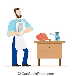 Butcher with a kitchen knife for cutting meat is near the table with a meat grinder. Flat character isolated on white background. Vector, illustration EPS10.