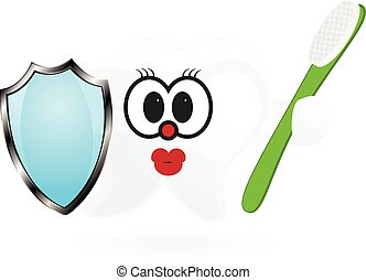 Happy Smiling Tooth With Toothbrush And Shield.
