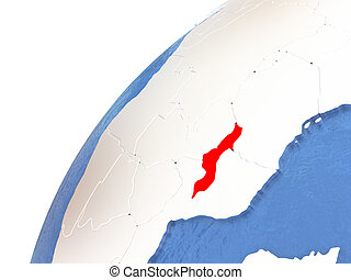 Malawi on metallic globe with blue oceans - Malawi in red...