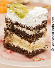 Slice of cake with chocolate, whipped cream and fruit -...