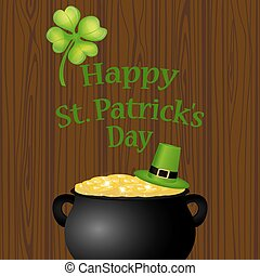 Poster St. Patrick hat with clover and cylinder vector...