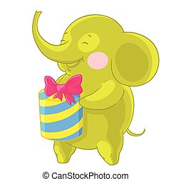 Cute green elephant laughs and rejoices at the gift in his...