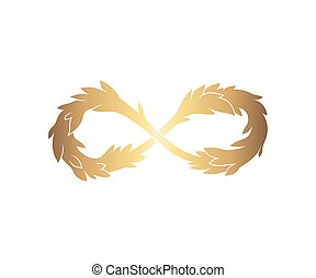 Gold infinity sign with leaves
