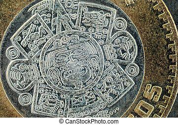 Ten mexican peso coin closeup detail