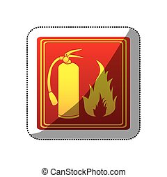 sticker red color signal silhouette fire flame and extinguisher icon