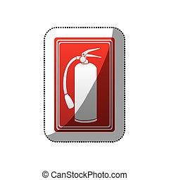 sticker red color signal silhouette fire extinguisher icon