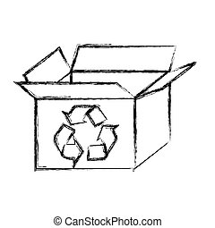 blurred silhouette carton box with recycling symbol