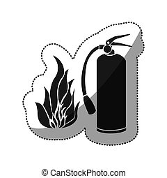 sticker black silhouette fire flame and extinguisher icon