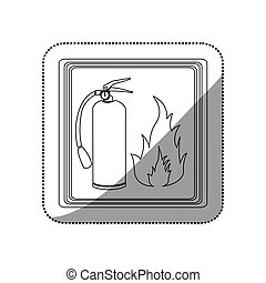 sticker contour signal silhouette fire flame and extinguisher icon