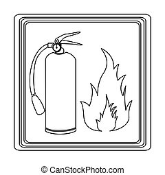 contour signal silhouette fire flame and extinguisher icon