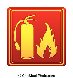 red color signal silhouette fire flame and extinguisher icon