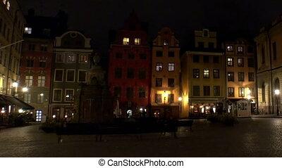 Stortorget Public Square in Stockholm. Sweden. Night, lights...