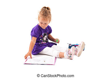 Happy little girl with notebook