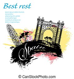 Spain travel grunge style design for your business easily...