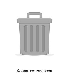Gray trash can with lid. vector illustration in flat style...