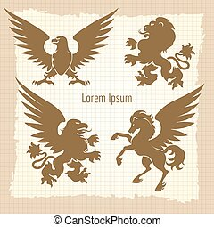 Heraldic silhouettes vintage poster - Heraldic silhouettes...