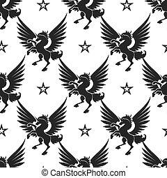 Black unicorn and stars seamless pattern