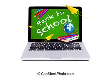 pizarra, escuela, moderno, computador portatil, espalda