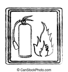 blurred contour signal silhouette fire flame and extinguisher icon