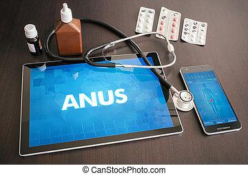anus, (gastrointestinal, concept, tablette, Monde Médical,...