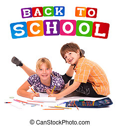 kids posing for back to school theme