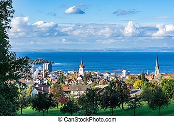 Rorschach, Bodensee - View of the Swiss Rorschach and Lake...