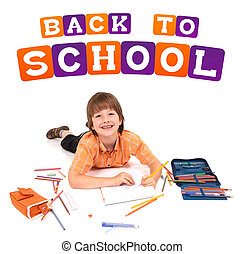 boy posing for back to school theme