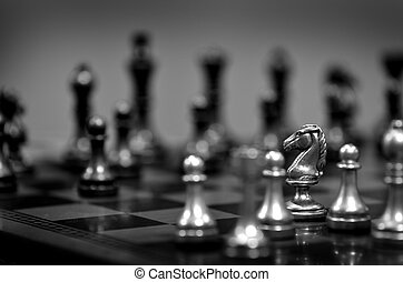 Chess Pieces on Board for Game and Strategy - Pieces on...