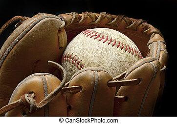 Baseball Mitt and Ball - Baseball and mitt for playing game